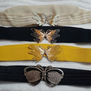 Accessories - Lot 4 Butterfly 80s Stretch Belts Clasps Metal
